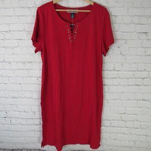 Karen Scott Dress Womens 0X Red Lace Up Knit